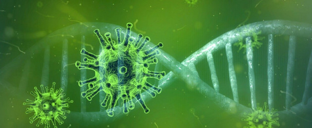 A virus and DNA in green colour