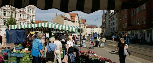 Wochenmarkt auf dem Lindenauer Markt
