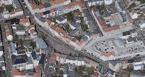 Häuser und Straßen aus der Luft aus rund um den Lindenauer Markt