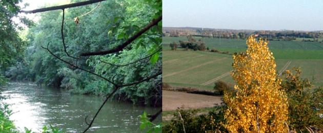 Zweigeteiltes Bild mit Blick auf einen Fluss und eine Kulturlandschaft
