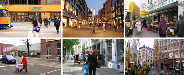 Das Bild zeigt ausschnittsweise verschiedene Einkaufsmöglichkeiten in Leipziger Stadtteilen.