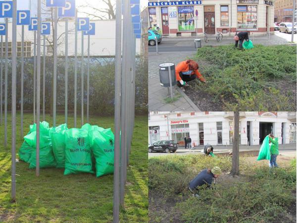 Reinigungsaktion am Lindenauer Markt zum Frühjahrsputz 2015.