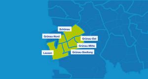 Karte mit den Umrissen der Leipziger Ortsteile. Lausen, Grünau-Nord, Schönau, Grünau-Ost, Grünau-Mitte und Grünau-Siedlung sind hervorgehoben.