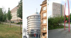 Drei Fotos als Collage. Links ein Blockbau mit Grünfläche und Jungbäumen davor, in der ;itte ein rundes Gebäude mit Glasfront, rechts ein weiterer, hoher Blockbau