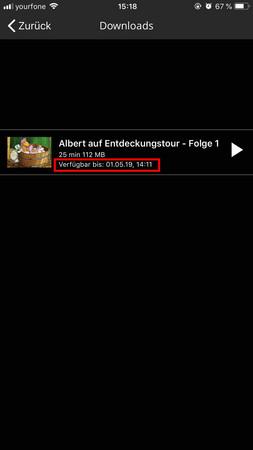 Bildschirmfoto der filmfriend App mit der heruntegeladene Folge einer Kinderserie, es sind Dauer der Offline-Nutzung und Dauer der Folge einsehbar