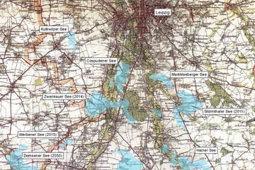Bild wird vergrößert: Karte von 1931 des südlichen Stadtgebietes Leipzig bis Borna mit Überlagerung der heutigen Seen