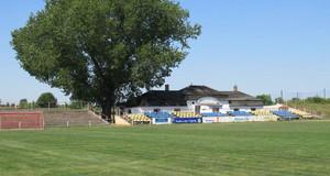 Tribüne und großer Baum neben der Gaststätte des Karl-Enders-Sportpark.