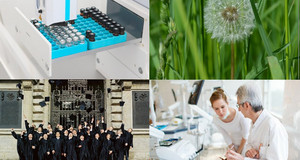 Bilder von Laborgläsern, von einer Pusteblume, mit Absolventen und Zahnarztstudeierenden
