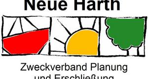 Logo Zweckverband Neue Harth mit Grafiken Schiff, Sonne und Baumgrün und Schriftzug