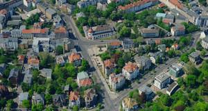 Aerial view of Plagwitz and Lindeau. Intersection Karl-Heine Straße / Zschochersche Str