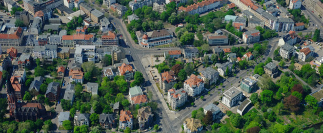 Aerial view of Plagwitz and Lindeau. Intersection Karl-Heine Straße / Zschochersche Str