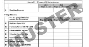Ausschnitt einer Wahlniederschrift zur Wahl des Leipziger Oberbürgermeisters am 2.2.2020 und 1.3.2020