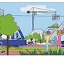 Bunte Zeichnung eines Stadtszenarios mit viel Grün. Zwei Kinder stehen auf dem Gehweg und zeigen auf ein begrüntes Hochhaus.