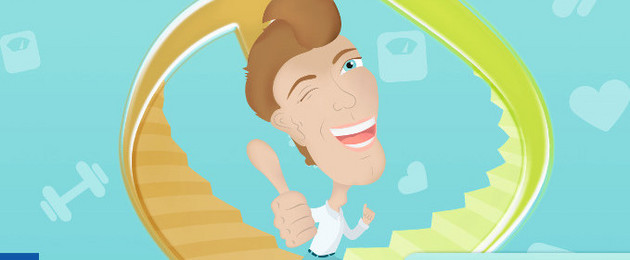 gezeichnete Figur steigt auf einer Treppe nach oben