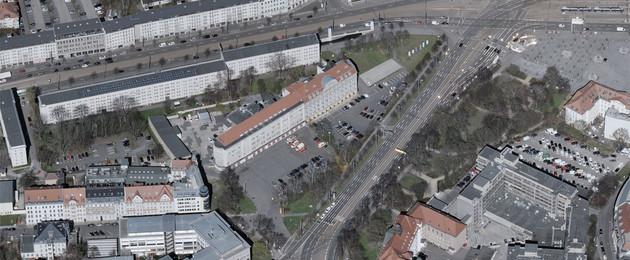Luftbildaufnahme von der Hauptfeuerwache am Goerdelerring