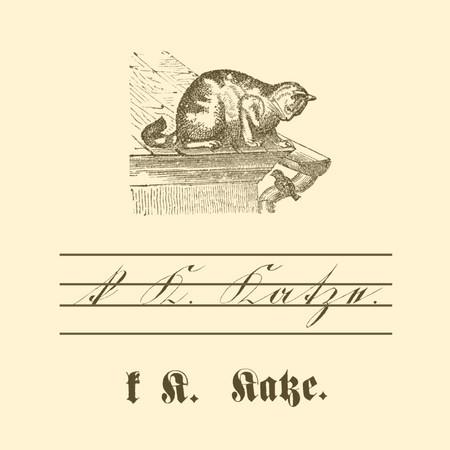 """Übungstafel einer deutschen Fibel von 1886 mit Motiv Katze, sowie kleinem und großem Buchstaben """"K"""" in Schreib- und Druckschrift."""