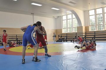 Bild wird vergrößert: Ringer in der Sporthalle Leplaystrasse