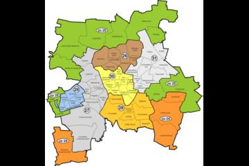 Bild wird vergrößert: Karte von Leipzig mit den Landtagswahlkreisen von 1999