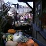 Historischer Handwerkermarkt während der Leipziger Markttage mit einem Kürbisstand