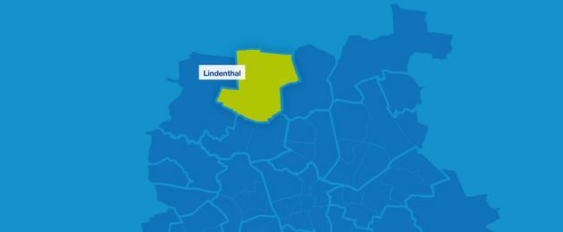 Karte mit den Umrissen der Leipziger Ortsteile im Norden. Lindenthal ist hervorgehoben.