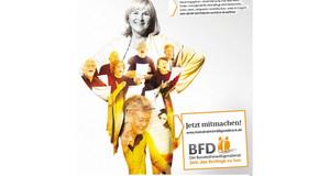 Plakat zum Bundesfreiwilligendienst auf dem eine Frau abgebildet ist.