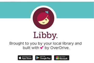Bild wird vergrößert: Logo Libby App, darunter steht Libby, brought to you by your local library and built with love by OverDrive, darunter Logos Apple App Store, Google Play Store, Windows App Store