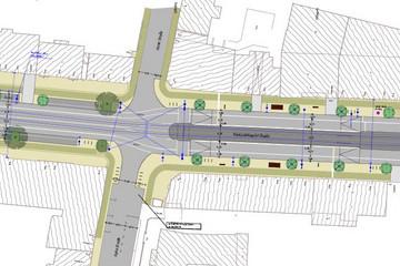 Bild wird vergrößert: Lageplanauszug der Entwurfsplanung für die Karl-Liebknecht-Straße, Arbeitsstand Oktober 2012