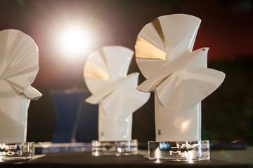 Bild wird vergrößert: Drei der DOK-Awards stehen auf einem Tisch.