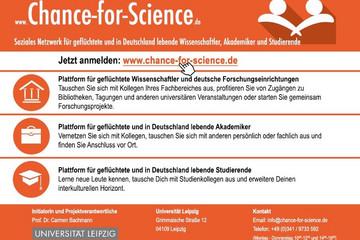 """Bild wird vergrößert: Chance-for-Science bietet geflüchteten und in Deutschland lebenden Wissenschaftlern, Akademikern und Studierenden die Möglichkeit, sich über eigene Profile gegenseitig vorzustellen, per Suchfunktion Personen mit ähnlichen Interessen zu finden und mit diesen anonym in Kontakt zu treten. In der Rubrik """"University Offers"""" werden im wissenschaftlichen Kontext stehende Angebote für Flüchtlinge gesammelt."""