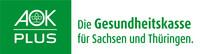 """Links weiße Schrift auf grünem Grund """"AOK Plus"""", rechts grün auf weißem Grund """"Die Gesundheitskasse für Sachsen und Thüringen"""""""