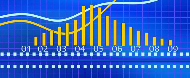 Diagram mit gelben Balken, Zahlen und hellblau eingezeichneten Kurven auf blauem Hintergrund