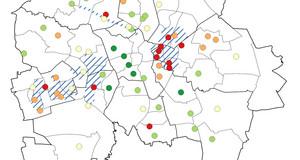 Zu sehen ist eine Karte des Stadtgebietes von Leipzig mit einer farblichen Darstellung des prozentuellen Anteils der gymnasialen Bildungsempfehlungen in den einzelnen Grundschulen.