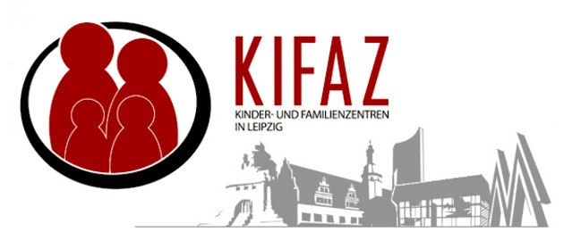 Logo Kinder unf Familienzentren (KiFaZ) in Leipzig. Familie grob vereinfacht als Grafik und typische Leipziger Gebäude als Grafik