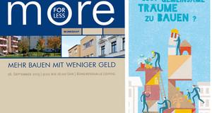 Es sind die Titel von Projektfaltblättern zum Thema Netzwerk Leipziger Freiheit und more for less abgebildet.