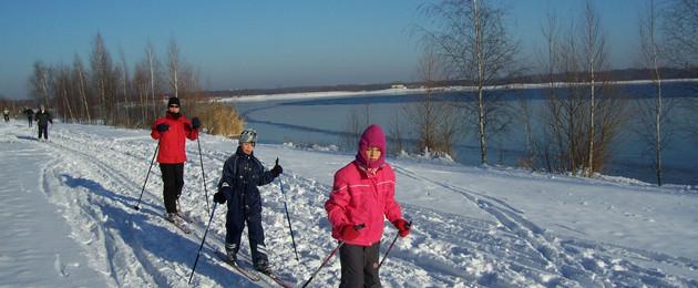 Skilangläufer am Cospudener See