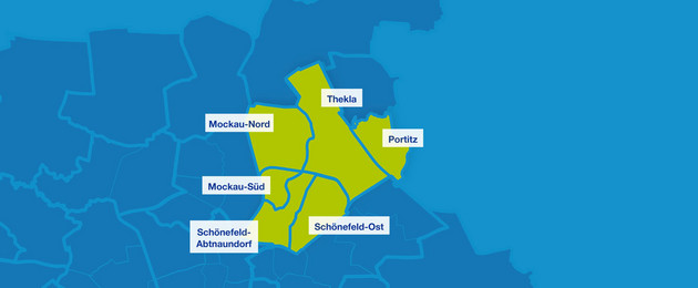 Karte mit den Umrissen der Leipziger Ortsteile im Nordosten. Hervorgehoben sind Schönefeld-Abtnaundorf, Schönefeld-Ost, Mockau-Süd, Mockau-Nord, Thekla und Portitz.