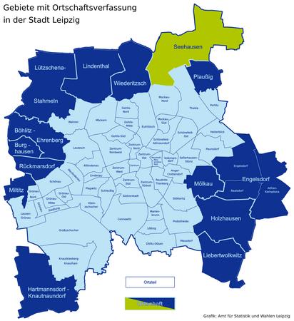 Karte der Leipziger Ortsteile und Ortschaften - Seehausen hervorgehoben
