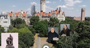 Foto eines Parks mit vielen Bäumen und dem Neuen Rathaus dahinter. Darauf ist eine rot-weiß-graue Scheibe als Ortsmarkierung und historische Fotos von Luther und Melanchthon und einem früheren Luther-Melanchthon-Denkmals.