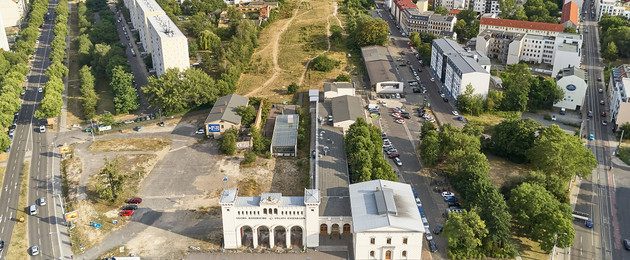 Luftbild 2019 über das Gebiet des Bayerischen Bahnhofs in Richtung Süden