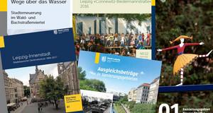 Titel von Broschüren und Faltblättern zum Wald-/Bachstraßenviertel, zur Entlassung des Sanierungsgebietes Prager Straße und zum Waldstraßenviertel sind zu sehen.