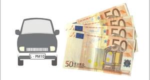 Autosymbol neben Geldscheinen