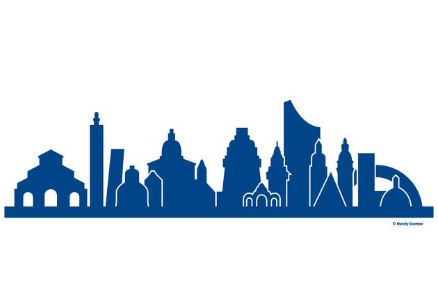 Links markante oder prägende Gebäude von Bologna, rechts von Leipzig