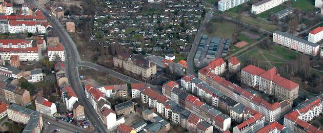 Gelände der künftigen Quartiersschule Ihmelstraße aus der Vogelperspektive