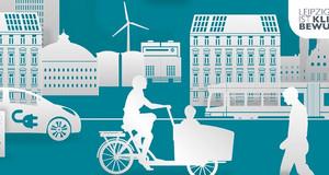 """Grafik zum Thema """"Leipzig ist klimabewusst"""" mit Stadtgebäuden, einer Straßenbahn, einem Elektroauto an einer Ladestation, einem Fußgänger und einen Lastenfahrrad."""