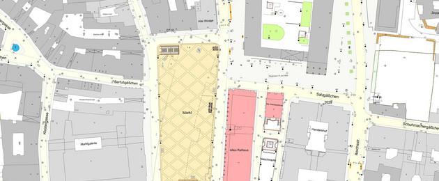 Ausschnitt der farbigen Stadtgrundkarte Leipzigs, der den Markt zeigt