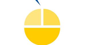 Projektlogo für Kultursensible Gesundheitslotsen für Leipzig, stilisierter Apfel aus drei Teilen, gelb mit blauem Stil