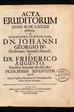 Bild wird vergrößert: historischer Buchtitel Acta Eruditorum