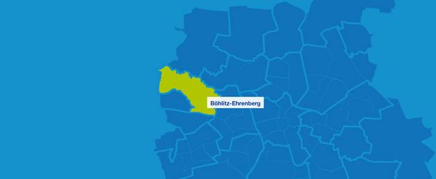 Karte mit den Umrissen der Leipziger Stadtteile. Böhlitz-Ehrenberg ist hervorgehoben.