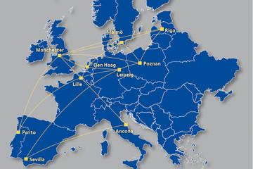 Bild wird vergrößert: Karte mit den Partnerstädten des EU-Projektes