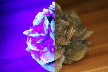 Bild wird vergrößert: Zweigeteiltes Bild eines Kristalls, rechts in normalem Licht, links im Schwarzlicht